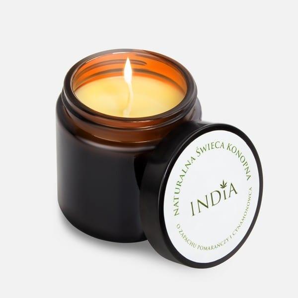 zapachowa-świeca-konopna-sojowa-pomarańcza-cynamon-India Cosmetics