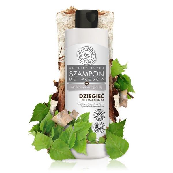 Szampon dziegieć z zieloną glinką do włosów przetłuszczających przeciwłupieżowy E-Fiore