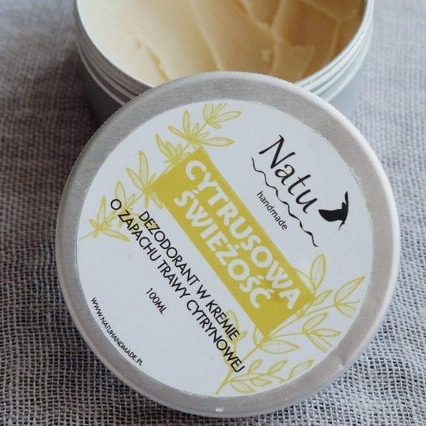 naturalny-dezodorant w kremie-cytrusowa-świeżość-o zapachu-trawy-cytrynowej-Natu-handmade-w puszce-100ml