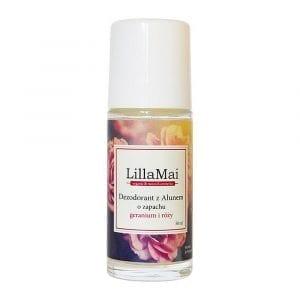 Dezodorant z ałunem o zapachu róży i geranium LillaMai