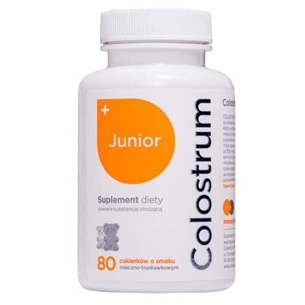 Colostrum Junior 40% ImmunoFirstAid cukierki misie o smaku mleczno-truskawkowym 80szt Colostrum Polska