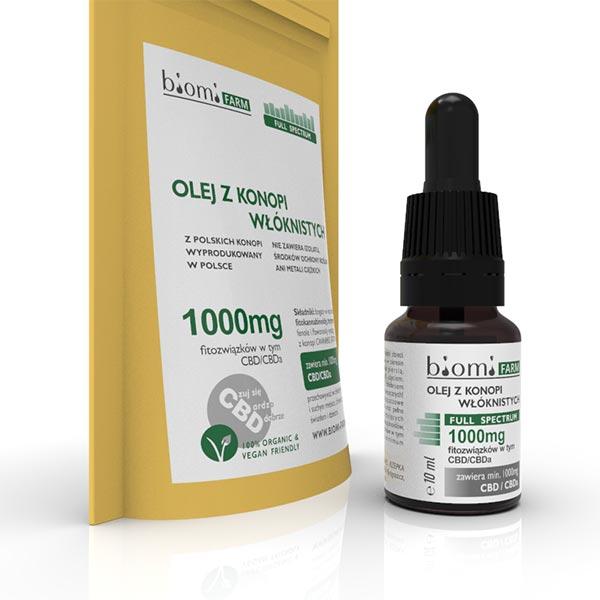 Olej konopny CBD 10% (1000mg) Full Spectrum 10ml Biomi Farm