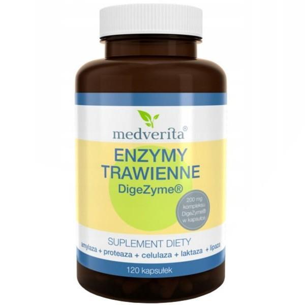 Enzymy Trawienne DigeZyme 140mg 120 Kapsułek Medverita